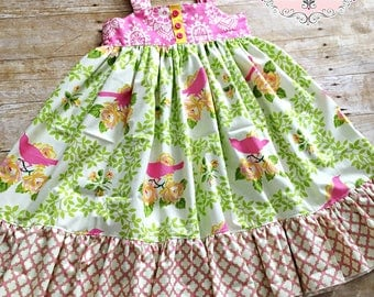 Ready to Ship Size 8 Girls Reverse Knot Dress In the Meadow Collection