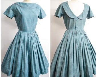 1950s Horrockses teal green pink check cotton full skirt day dress / 50s collared low back pleated summer dress - S