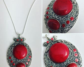 Middle Eastern Inspired Red Coral & Silver Necklace