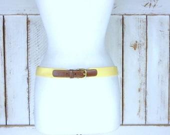 Vintage Dooney Bourke pale yellow canvas leather belt/brass buckle woven chord belt/fabric/material belt/36