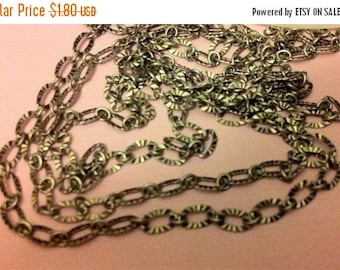 SALE Vintage Retro Style Delicate Antique silver crinkled texture 3x5mm footage  chain