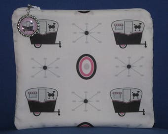 """Camping Zipper Tote, Purse, Bag 8"""" X 7"""" Vintage Canned Ham Trailers on WHITE"""