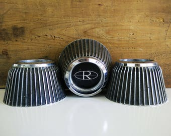 1960s Buick Riviera Rally Wheel Center Caps, set of 3 / Classic car parts / Industrial Man cave decor