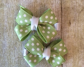 Green with White Dots Boutique Bow Set