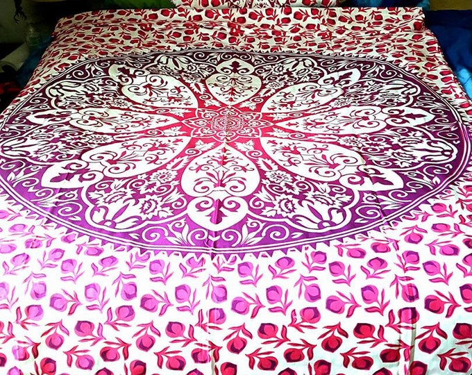 Pink Flower Duvet Cover Mandala Tapestry Boho Bedding with Matching Pillowcases Duvet Gypsy Bedding Dorm Room Beach Yoga