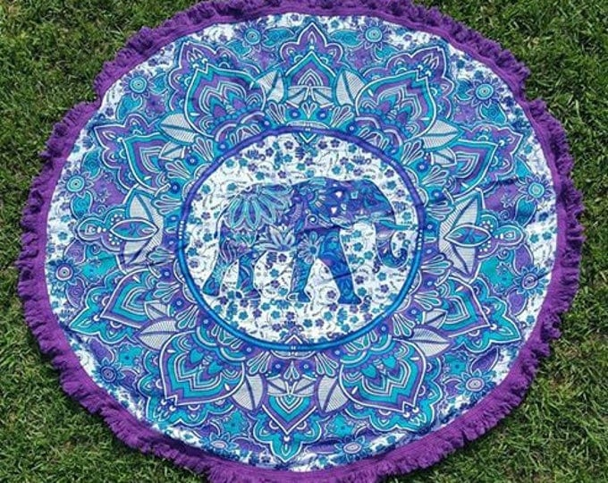 Blue and Purple Elephant Mandala Roundie with Purple Fringe Tapestry Beach Blanket Yoga Mat Meditation Mat Dorm Decor Hippie Tapestry