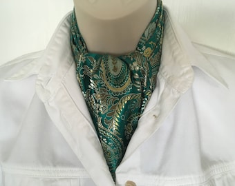 Ascot Tie Cravat .Brocade. Green paisley. Formal. For special occasions