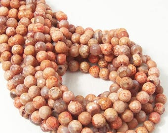Fired Agate Beads, 6mm, Light/Dark Orange, Antiqued, Rustic, Multi Colored, Round, Faceted, Small, Gemstone Beads, 15 Inch Strand - ID 2267