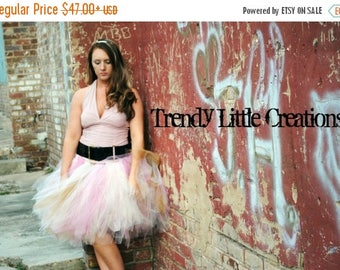 Summer sale Trendy ladies Tutu - Teen Tutu - Tween tutu - SEWN tutu- ivory, gold, and pinks