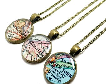 Map necklace etsy custom vintage map necklace you select location anywhere in the world one necklace gumiabroncs Image collections