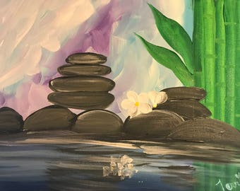 Canvas art peaceful spa day bamboo rest