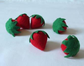 Set of 6 Felt Strawberries