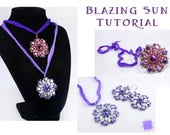 Blazing Sun Pendant and Earring Set Tutorial, Arcos Par Puca Bead Beadweaving Pattern, HoneyComb Bead, Two Hole Bead RAW Beadeding Pattern