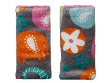 Car seat strap covers, padded strap covers, reversible strap covers, girl Car Seat Strap Covers, elephant  minky strap covers- Ships Today