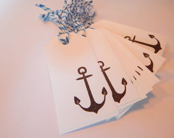 ANCHOR Tags - Qty 12 - Small Tag - 1 5/8 x 3 1/4 inches - Favor tag - Sea birthday - Ships ahoy - Anchor party - Wedding by the sea