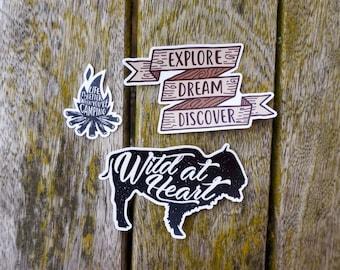 Set of 3 adventure vinyl decal bumper stickers