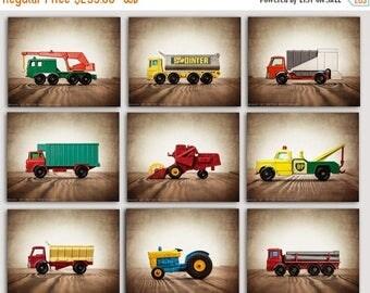 FLASH SALE til MIDNIGHT Vintage Matchbox Work Trucks, Set of Nine Stretched Canvas prints, Nursery Decor, Rustic Decor Toy Cars, Baby room i