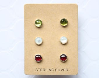 Tiny Stone Stud Trio, Peridot, Mother of Pearl, Garnet Stones, Sterling Silver, Ready to Ship