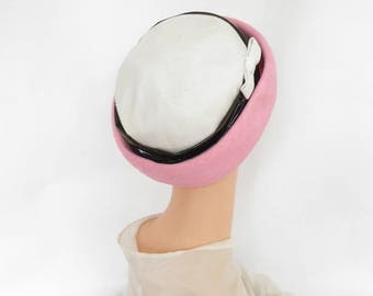 1960s hat pink white, vintage 60s, Irene of New York