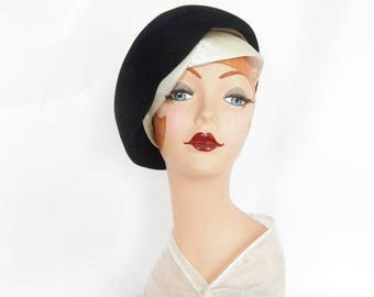 1960s black velvet hat, vintage 60s tilt, white satin, Otto Lucas London