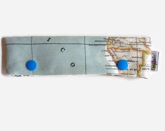 World map fabric, circular needle or DPN case holder, sock knitting project keeper - Sample sale
