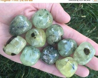 SUMMER SALE: 3 Prehnite & Epidote Tumbles
