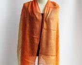 ON SALE 30% off, SC2, V Triple Orange Cotton Scarf