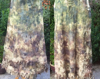 Woodland Pixie Lace Up Skirt, Maxi skirt, 3/4 Skirt,Hand dyed, Tie Dyed Skirt