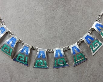 Sterling Silver - Turquoise - Lapis Mosaic Inlay Link Necklace & Earrings Set Taxco    OCS12