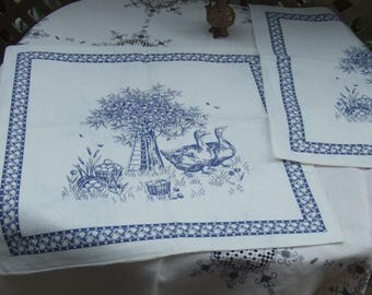 Set of 2 Vintage Toile Napkins or Pillw Panels. Screen Printed. Ducks by The Peach Tree, or Plum Tree. Dark Blue on Off White Cotton.