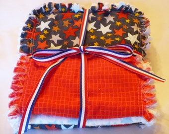 Baby Boy Rag Quilt Burp Cloths Set of 3 Burp Towels Stars Stripes Patriotic Summer Baby Red White and Blue Cotton Chenille