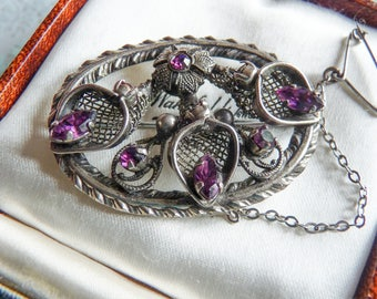 Victorian Revival Amethyst Rhinestone Vintage Brooch with Safety Chain