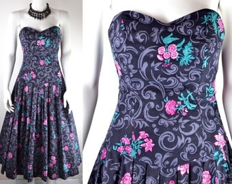 80s Laura Ashley strapless bustle back dress Size S XS romantic cotton tieback backless dark grey pink carnations vintage ball gown