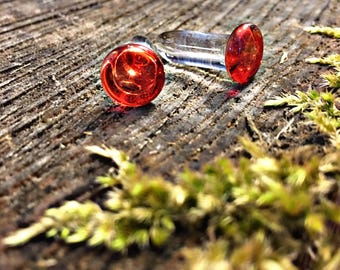 Cherry Drop Single Flare 2g gauged earring plugs for stretched piercings Made to Order
