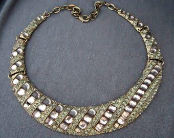 necklace, choker, pink rhinestone necklace, statement jewelry, statement necklace, vintage necklace, rhinestone necklace, rhinestone choker