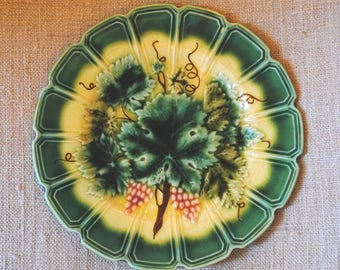 Antique French Majolica BARBOTINE Plates RAISIN Sarreguemines