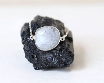 Raw Shaped Moonstone Gemstone Pendant Necklace // Sterling Silver // Simple everyday layering jewelry