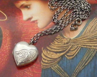 English Edwardian to mid century sterling silver heart locket and chain