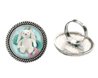 White Bunny with Teal Flowers 25mm Cabochon Silver Double Rope Adjustable Ring