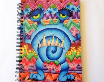 Drawing / Sketch book - aprox 100 sheets recycled paper- monster, psychedelic