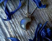 RESERVED Lehua Sterling Silver Moon Moonstone Necklace Blue Gemstone 925 Jewelry June Birthstone