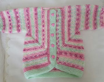 Knitted Baby Sweater -  Hand Knit Pink Cardigan - Girls Sweater  - Handmade Baby Clothes - Baby Surprise Sweater - 6-9 Months -Ready to Ship