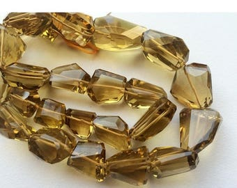 ON SALE 55% Beer Quartz Beads, AAA Gems, Faceted Nugget Beads, Faceted Beer Quartz, 15mm To 20mm, 16 Inch Full Strand, 24 Pieces Approx