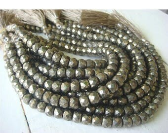 ON SALE 55% Pyrite - Pyrite Faceted Rondelles - 3.5 Inch Strand - 7-8.5mm Approx