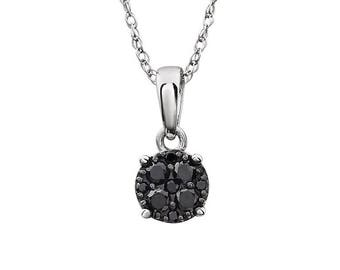 Black Diamond Necklace - 14k White Gold. Fine Jewelry. Made in NYC