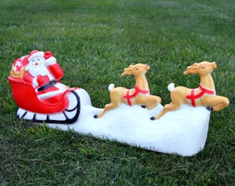 Union Products Santa, Reindeer, and Sleigh Blow Mold / Vintage Christmas Blow Mold / Union Products / Christmas Decor
