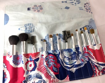 Red Makeup Brush Roll - Travel Makeup Brush Organizer - MakeUp Brush Holder - Makeup Brush Case Art Gallery In Blue Interplay in Eclectic