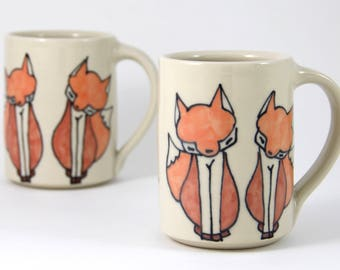 Fox Coffee Mug Handmade Pottery Coffee cup tea cup cute animal themed ceramics illustrated pottery foxes woodland themed cute gift