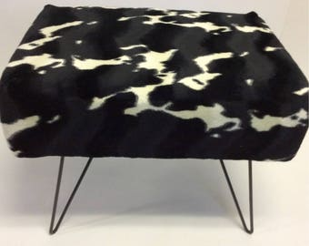Handmade Upholstered Faux Cowhide Ottoman Stool Assemblage Piece