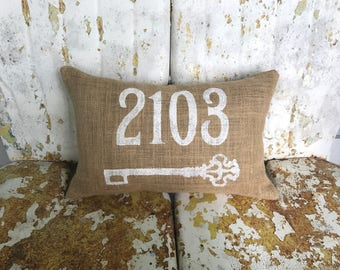 Personalized Address House Number and Key Burlap Pillow Throw Accent Pillow Custom Colors Available Hostess Gift Home Decor